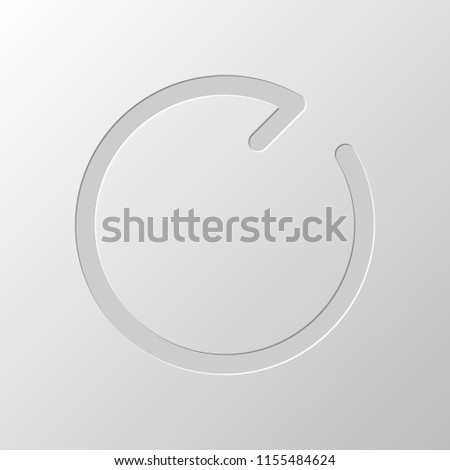 Simple arrow, update, reload, clockwise direction, forward. Navigation icon. Linear symbol with thin line. One line style. Paper design. Cutted symbol. Pitted style