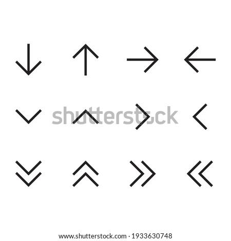 Simple arrows icon set. Line arrows