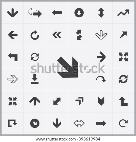 Simple Arrows icons set. Universal Arrows icon to use for web and mobile UI, set of basic UI Arrows elements
