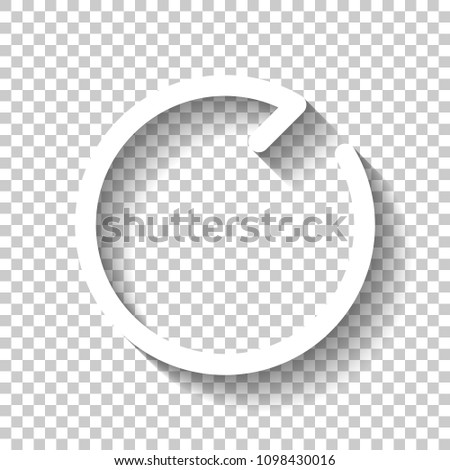 Simple arrows, update, reload, clockwise direction. Linear symbol with thin line. One line style. White icon with shadow on transparent background