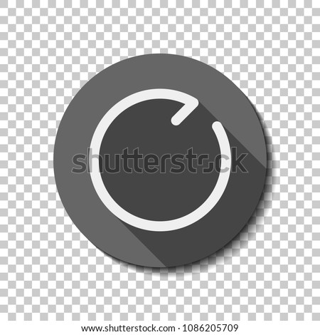 Simple arrows, update, reload, clockwise direction. Navigation icon. Simple arrow, backward. Navigation icon. Linear symbol with thin line. One line style. White flat icon, long shadow, circle