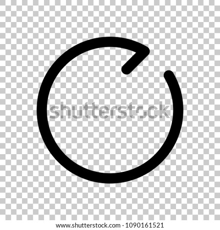 Simple arrows, update, reload, clockwise direction. Navigation icon. Simple arrow, backward. Navigation icon. Linear symbol with thin line. One line style. On transparent background.