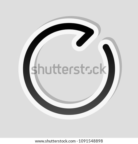 Simple arrows, update, reload, clockwise direction. Navigation icon. Simple arrow, backward. Navigation icon. Linear symbol with thin line. One line style. Sticker style with white border