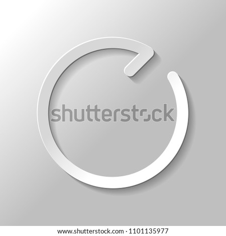 Simple arrows, update, reload, clockwise direction. Navigation icon. Simple arrow, backward. Navigation icon. Linear symbol with thin line. One line style. Paper style with shadow on gray background