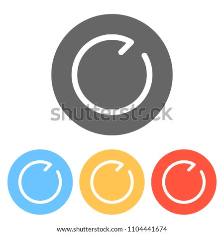 Simple arrows, update, reload, clockwise direction. Navigation icon. Simple arrow, backward. Navigation icon. Linear symbol with thin line. One line style. Set of white icons on colored circles