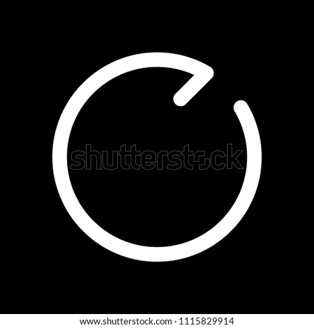 Simple arrows, update, reload, clockwise direction. Navigation icon. Simple arrow, backward. Navigation icon. Linear symbol with thin line. One line style. White icon on black background. Inversion