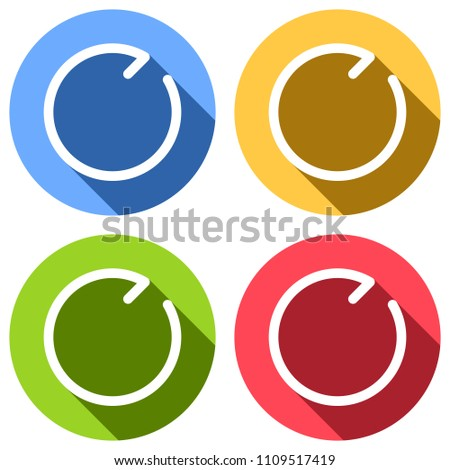 Simple arrows, update, reload, clockwise direction. Navigation icon. Simple arrow, backward. Linear symbol with thin line. One line style. Set of white icons with long shadow