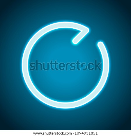 Simple arrows, update, reload, clockwise direction. Navigation icon. Simple arrow, backward. One line style. Neon style. Light decoration icon. Bright electric symbol
