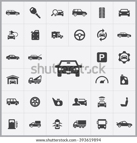 Shutterstock Simple auto icons set. Universal auto icons to use for web and mobile UI, set of basic auto elements