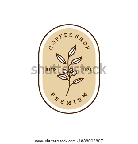 simple badge coffee bean and leaf branch natural line stamp logo vector icon design in vintage hipster modern beautiful style, premium coffee shop bar icon
