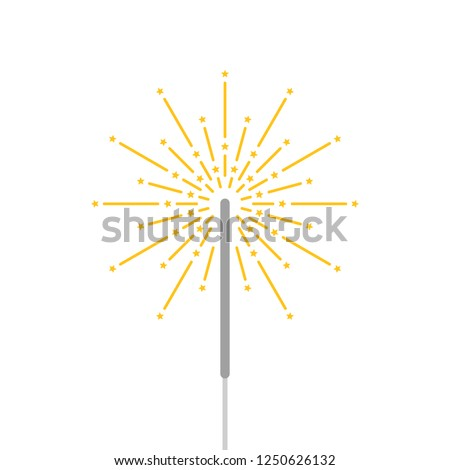 simple bengal light with sparkler. flat cartoon style logo graphic art design element on white background