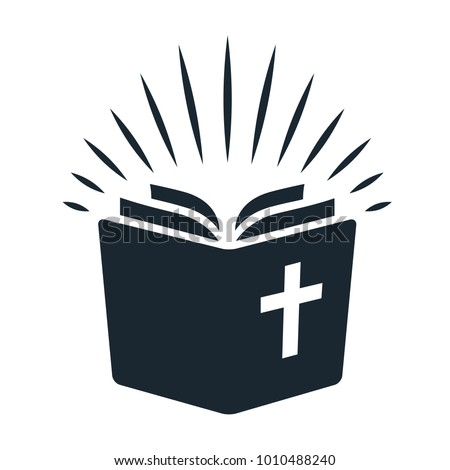Simple Bible icon. Open book with rays of light shining from pages. Religion, church, Bible study concept contemporary style design element isolated on white background