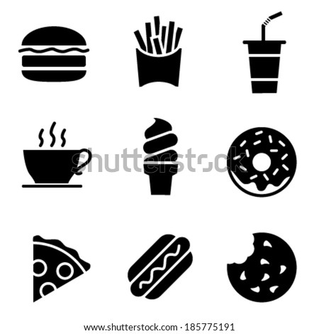 Simple Black and White Fast Food Icons - Vector