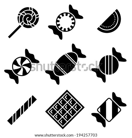 Simple black and white vector candy icons
