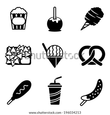 Simple black and white vector carnival snack icons