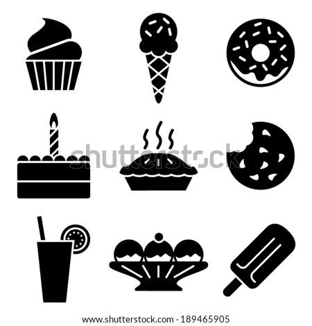 Simple black and white vector dessert icons