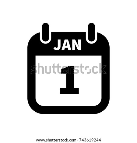 Simple black calendar icon with 1 january date isolated on white