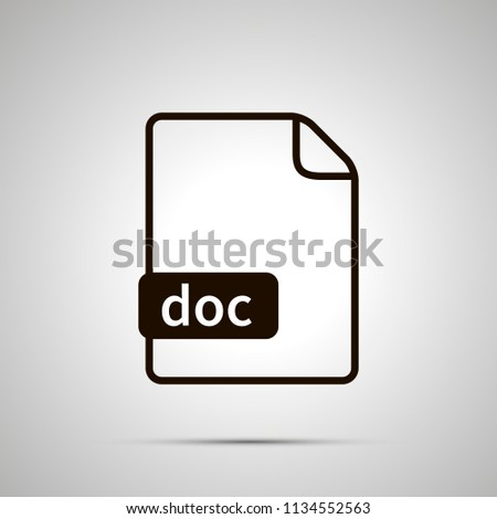 Simple black file icon with doc extension on gray