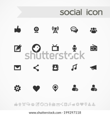 Simple black on white social icons