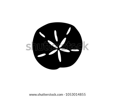 Simple black silhouette of a sand dollar, vector illustration.