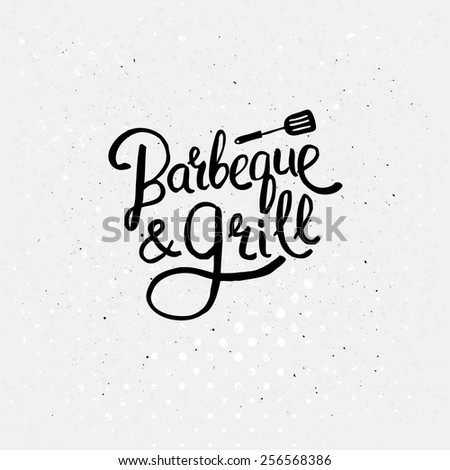 Simple Black Text Design for Barbecue and Grill Concept with a Small Flat Ladle Above on Abstract White Background with Dots. Vector illustration.