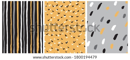 Simple Black, Yellow and Gray Geometric Vector Seamless Pattern with Stripes, Spots and Dots. Irregular Dotted Vector Print. Striped Backdrop.