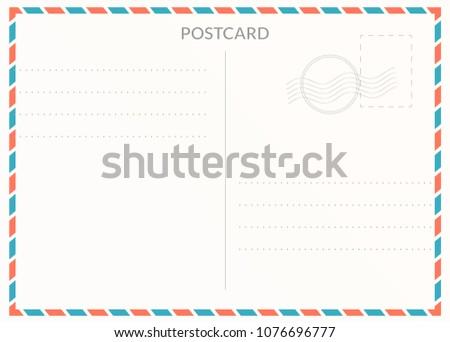Simple blank postal card illustration for design