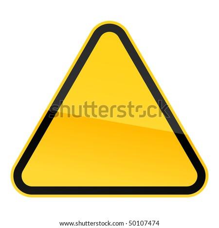 Simple blank yellow hazard warning sign on white