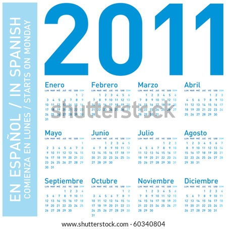 Simple Blue Calendar for year 2011, in Spanish. Week starts on Monday
