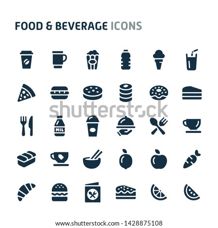 Simple bold vector icons related to foods and beverages. Symbols such as vegetables and snacks are included in this set. Editable vector, still looks perfect in small size.