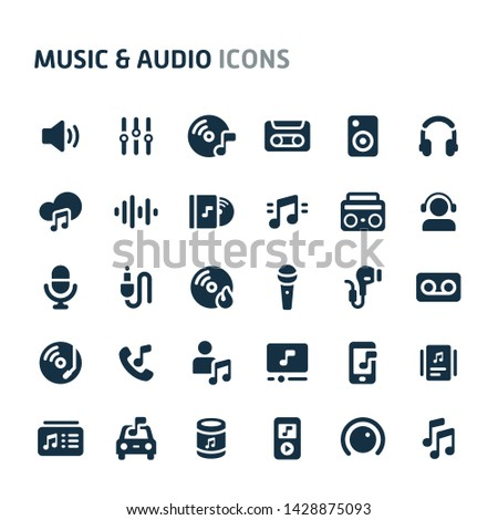 Simple bold vector icons related to music and audio. Symbols such as instrument, audio equipment and audio device are included. Editable vector, still looks perfect in small size.