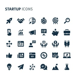 Simple bold vector icons related to start-up company. Symbols such as rocket, binocular and other start-up related items are included in this set.  Editable vector, still looks perfect in small size.