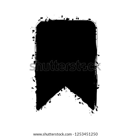 simple bookmark icon. Black ink with splashes on white background #1253451250