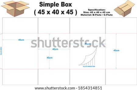 Simple box for corrugated B-flute or C-flute material.  Simple box with A1 model, can be used for various kinds of packaging. Сток-фото ©