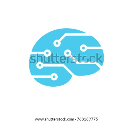 Simple brain shape silhouette with circuit board pattern. Mind and technology logo, artificial intelligence concept. Vector icon illustration.