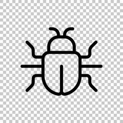 Simple bug icon, computer virus or malware. Black editable linear symbol on transparent background