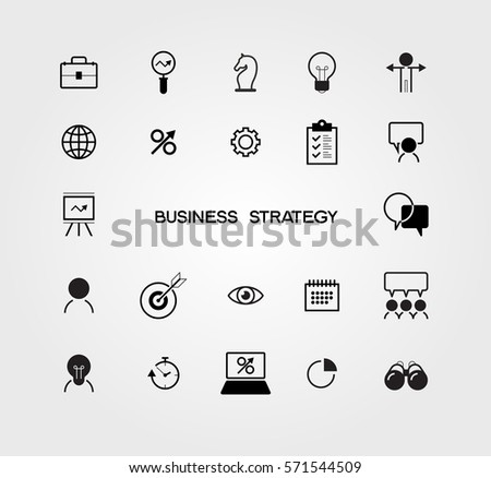 Simple business strategy icons set. Sign for web and mobile UI. Basic elements. Flat design style vector illustration. The file is saved in the version AI10 EPS.