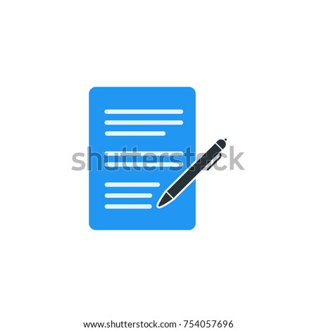 Simple Business Vector of Portfolio Paper Icon Template. Portfolio With Pen Vector Illustration
