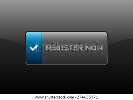 Simple button REGISTER NOW with color space for icons. Vector design elements.