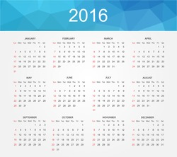 Simple calendar 2016.Abstract calendar for 2016.Week starts from sunday.Vector illustration.