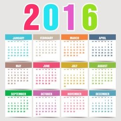 Simple 2016 Calendar. 2016 calendar design. 2016 calendar vertical, week starts with Sunday