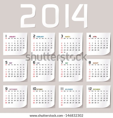 Simple 2014 Calendar 2014 calendar design 2014 calendar vertical week starts with sunday