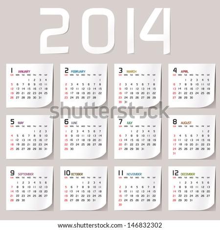 Simple 2014 Calendar / 2014 calendar design / 2014 calendar vertical  - week starts with sunday  Сток-фото ©