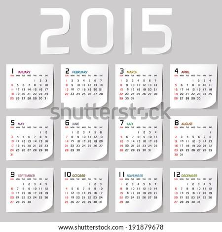 Simple 2015 Calendar / 2015 calendar design / 2015 calendar vertical - week starts with sunday