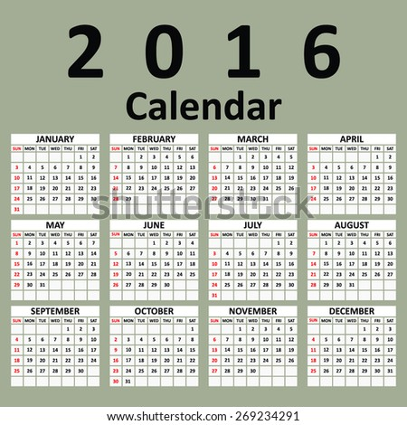 Simple 2016 Calendar 2016 calendar design 2016 calendar vertical week starts with Sunday