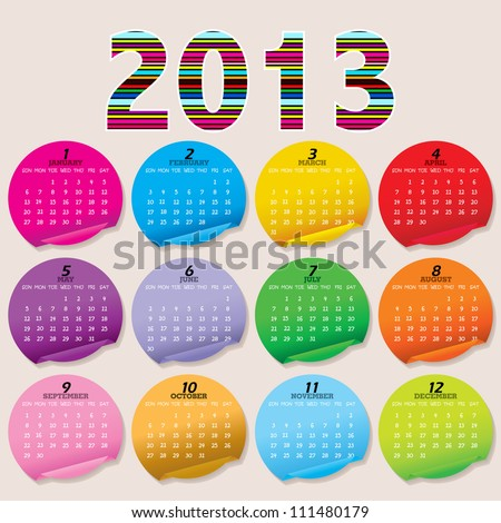 Simple 2013 Calendar / 2013 calendar design - week starts with sunday