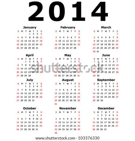 Simple 2014 Calendar (EPS 10) Сток-фото ©