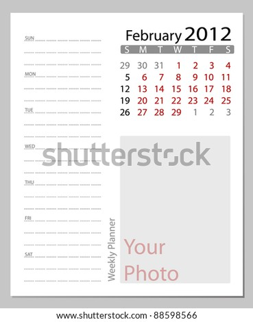 Simple 2012 calendar,  February.  All elements are layered separately in vector file. Easy editable.