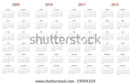 2104 calendar template - 2009 vector calendar 123freevectors