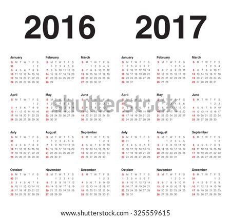 Simple calendar for 2017 and 2017
